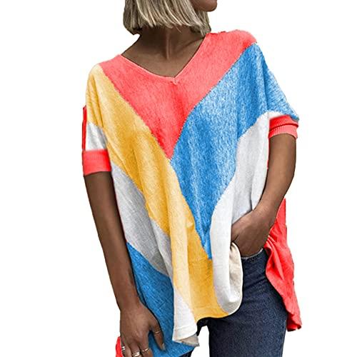 Mayntop Camiseta de verano para mujer con estampado de bloques de color, suelta, manga corta, mangas murciélago, cuello en V, blusa étnica, B-rojo, 50