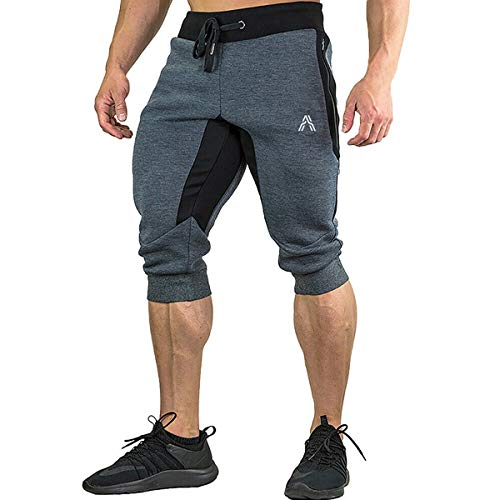 A WATERWANG Men's 3/4 Jogger Pants, Capri Below Knee Shorts, Slim Fit Training Workout Gym with Zipper Pockets Dark Gray
