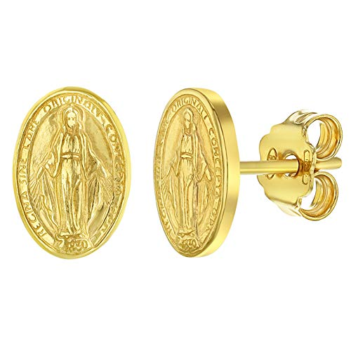 Pendientes de tuerca de plata de ley 925 con medalla ovalada de la Vir