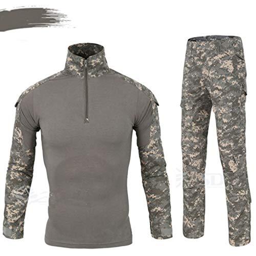 ALLIWEI Gray Camouflage Clothing, Spring And Autumn Hunting Ghillie Suit Pants Jacket War Game Esercito Militare Paintball Shooting Air Gun Caccia tiro Tuta Mimetica Tattico (Dimensioni : S.)