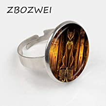 Seed World Rings - 2018 Ancient Egyptian Cat Goddess Statue Ring Egypt Lord Ring Handmade Glass Ring Women Jewelry Amulet Accessories 1 PCs