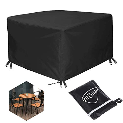 eeQiu Housse de Protection Housse de Meuble Housse Salon de Jardin Tissu Oxford 600D Anti-UV Oxford Robuste Bache Table et Chaise de Jardin 125x125x75cm
