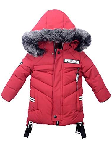 Odziezet Baby Steppjacke Jungen mit Kunstfell Dicke Kinderjacke Winterjacke Warme Gegütterte Kapuzenjacke 2-7 Jahre alt