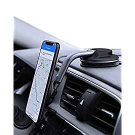 AUKEY CAR Phone Mount 8 Best Viewing:The base is able to rotate through 360 degrees, and the adjustable arm and ball joint makes it easy to find the ideal phone viewing angle Reliable Adhesion: Fixes securely to a flat surface on your dashboard. Features an additional sticker base for slightly curved or uneven surfaces Magnetic Attachment: Four powerful magnets securely hold your phone or GPS on your car dashboard. Just grab and go when you reach your destination. Note that wireless charging will not work when a magnetic plate is attached to your device or placed inside its case