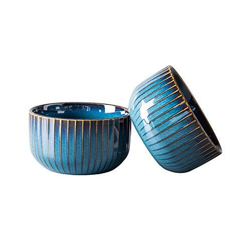 2er Set Müslischalen aus Porzellan, Hoteck Keramik kleine Schalen, Dessertschale, Snackschale, Schüssel Retro Geschirr, Blau Serie
