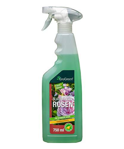 GroGreen® Feed & Shine® Rosen 750 ml Rosendünger Flüssig Gebrauchsfertig, Sprühflasche, Bioaktiv, Weniger Fungizide nötig, Genießen Sie gesunde und vitale Rosen (750 ml Gebrauchsfertig)