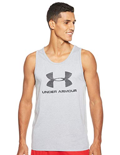 Under Armour Sportstyle Camiseta sin Mangas con Logotipo, Ropa Deportiva para Hombres Hecha de Tejido ultrasuave, Ancha Camiseta de Tirantes, Steel Light Heather/Steel Light Heather/Black (036), LG