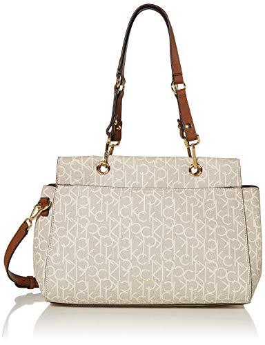 Calvin Klein Sonoma Signature Monogram Satchel, Almond/Khaki/Luggage