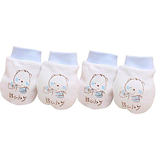 Tangbasi 2 paar pasgeboren baby Anti Scratch wanten baby zachte katoenen handschoenen Eén maat Blauw