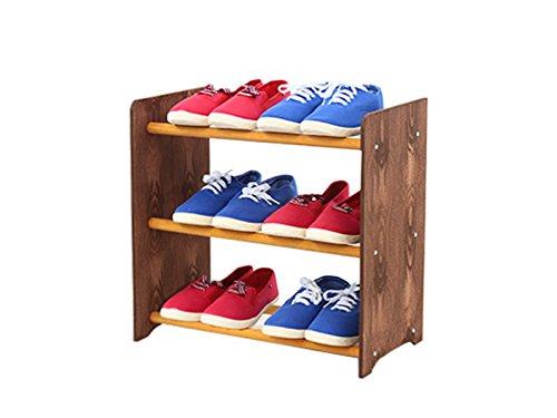 Schuhregal Schuhschrank Schuhe Schuhständer RBS-3-45 (Seiten dunkelbraun, Stangen in der Farbe erle)