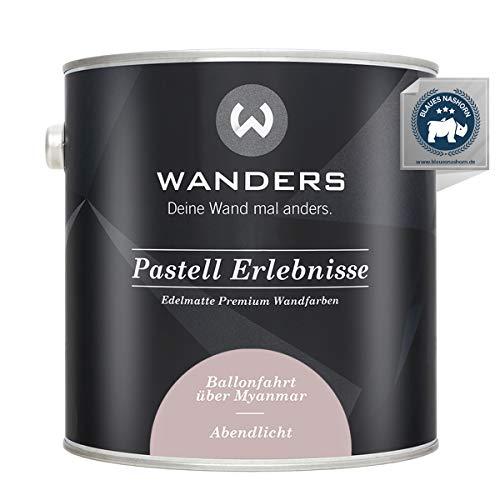 Wanders24® Pastell Erlebnisse (2,5 Liter, Abendlicht) edelmatte Wandfarbe - Feine Farben - in 40 Farbtönen - Wandfarbe Grau - Made in Germany