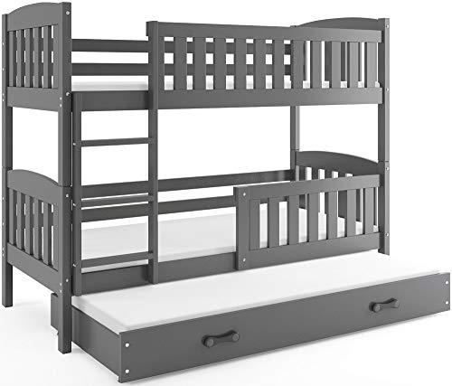 Interbeds Etagenbett QUBA für DREI Kinder 200x90cm GRAU + Varianten, mit Lattenroste, Matratzen und Schublade (Grau + graue Schublade)