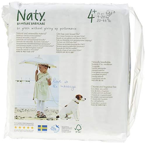 Naty by Nature babycare, Taglia 4+, (9-20 kg), 4 confezioni da 25 [100 Pannolini]