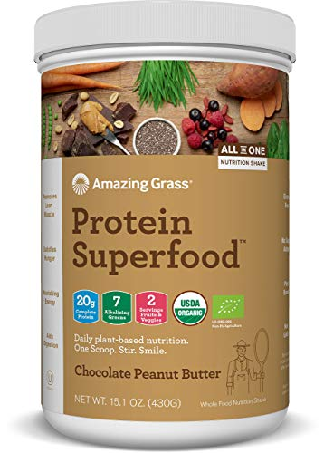 Amazing Grass Protein Superfood: Organic Vegan Protein Powder, Plant Based Meal Replacement Shake with 2 servings of Fruits and Veggies, Chocolate Peanut Butter Flavour, 10 Servings