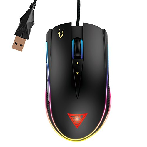 GAMDIAS Optical Gaming Mouse with RGB Streaming Light, HERA Software Supported, 8 Programmable keys, adjustable 1600 DPI (ZEUS P2