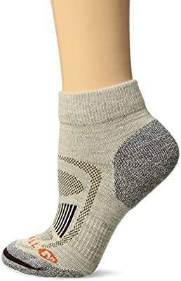 Merrell Women's 1 Pack Cushioned Zoned Light Hiker (Low/Quarter/Crew Cut Socks), Oatmeal (Quarter), Shoe Size: 4-9.5