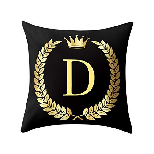 Letras Inglesas de Oro Negro Funda de CojíN, Funda de Almohada Decorativa Minimalista Moderna, CojíN Suave, Funda de Almohada, Se Puede Usar en la Cama, el Sofá y la Sala de Estar