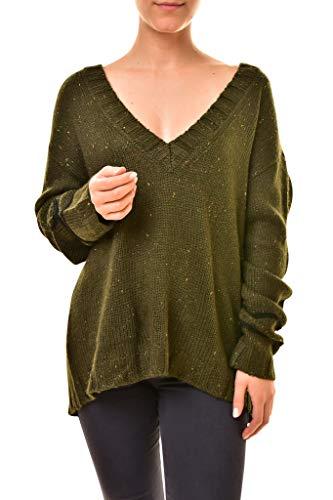 One Teaspoon Lone Pine 18748B - Maglione da Donna, vestibilità Comoda, Colore: Verde Cachi Verde M