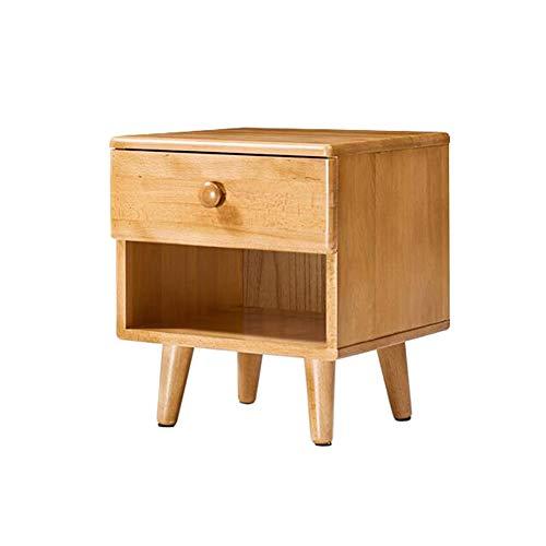 Jcnfa-bijzettafel Massief houten nachtkastje, opbergkast voor kinderen, ladekast, natuurlijke beuken, milieuvriendelijke verf
