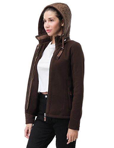 MIER Women's Full Zip Fleece Jacket Hooded Outdoor Fall Winter Coat Jacket with Zip Pockets, Brown, 12