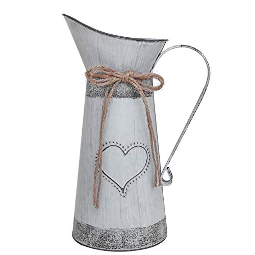 Soyizom Vintage Metall Milch kann Krug, rustikale Primitive Krug Vase mit herzförmigen und Rope Design für Hochzeitsfeier Dekoration (grau-blau Krug)