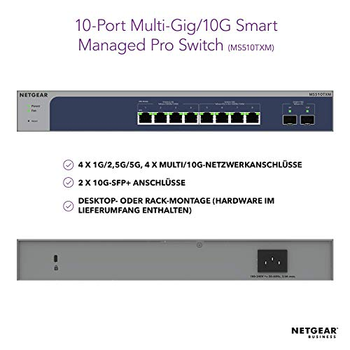 NETGEAR MS510TXM 10 Port Multi-Gigabit/10GbE LAN Switch Smart (8x Multi-Gig-Ports, 2x 10G-SFP+, Insight Cloud Management, Desktop oder 19 Zoll Rack-Montage, ProSAFELifetime-Garantie)