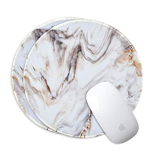 2 Pack White Marble Mouse Pad Round Office Mouse Pads Art Print Pattern Mouse Mat with Non-Slip Rubber Base for Laptop Computer PC, Marble White, 9.5 x 7.9 x 0.1 Inch