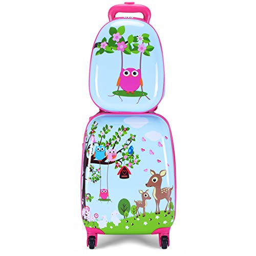GYMAX Kids Carry On Luggage Set, 12' & 16' 2PCS Kids Suitcase with Adjustable Trolley Rod Height & Backpack Shoulder Strap for Boys and Girls, Gift for Toddlers Children (Deer)