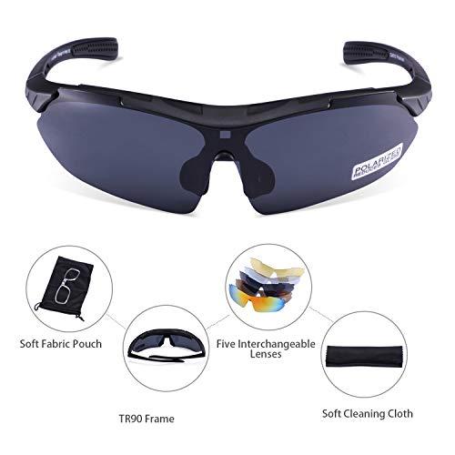 Carfia Multi TR90 UV 400 Outdoor Sport Brille Polarisiert Sonnenbrille Radbrille mit 5 wechselbare Linsen für Skilaufen Golf Radfahren Laufen Angeln Baseball - 3