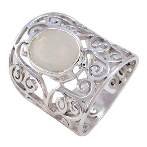 joyas plata piedra preciosa natural forma ovalada una piedra anillo de piedra de luna arcoíris facetado - anillo de piedra de luna arcoíris blanco de plata sólida - cáncer de nacimiento de jul