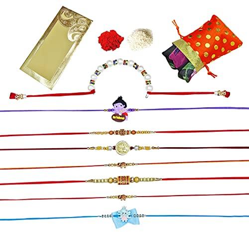 Peegli Pulsera Para Hermano Multicolor Rakhi Con Bufanda Paquete De 8 Piezas Rakhee Set