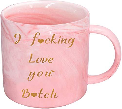 I love you gifts for her, Birthday Gifts for Women, Funny Gifts for Him Girlfriend Wife Sister Women Female Friend, 12oz Pink Marble Coffee Cup Valentines Day