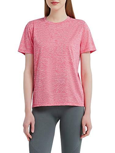 Funthing Camiseta Deportiva Mujer Camisa Manga Corta Yoga Fitness Racerback Top para Correr Camiseta Funcional Transpirable Secado Rápido Elástico Tshirt Mujer