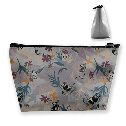 Multi-Functional Print Trapezoidal Storage Bag for Female Panda Party in Grey and Plum
