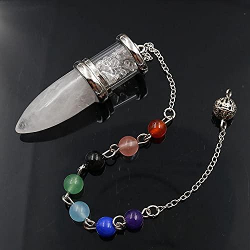 Forma de cono Chakra Péndulo para Dowsing Adivinación CHIP DE GRAVEL PIEDRA NATURAL PIEDRA NATURAL Bullet Colgante de la botella de la botella Péndula Joyería 1 PCS-Cristal de roca_PORCELANA