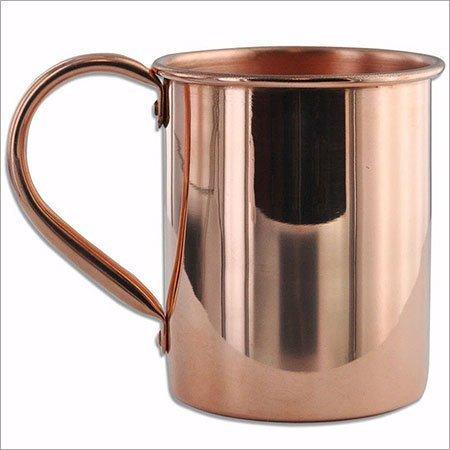 OMG-Deal - Taza de cobre auténtico Moscow Mule, lisa, de cobre sólido, diseño de moscú, recto, con mango de cobre, beneficios para la salud con polvo de limpieza de metal