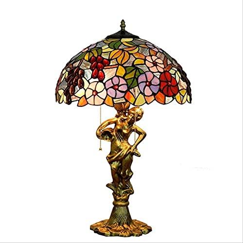 MISLD Lámpara Tiffany Art Deco Tiffany Lámparas para Dormitorio Art Rural Flower Sala De Estar Lámpara Tiffany Table Lámpara Lámparas