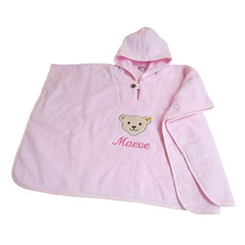 Steiff Baby Bade Poncho mit Wunsch Namen bestickt rosa