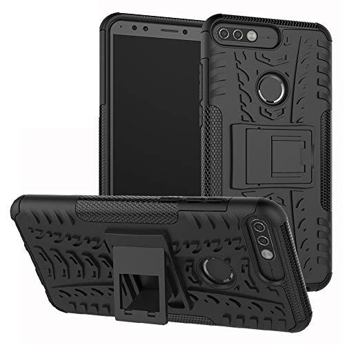 LiuShan Honor 7c / Nova 2 Lite / Y7 Prime 2018 Hülle, Dual Layer Hybrid Handyhülle Drop Resistance Handys Schutz Hülle mit Ständer für Huawei Honor 7c / Nova 2 Lite / Y7 Prime 2018 Smartphone,Schwarz