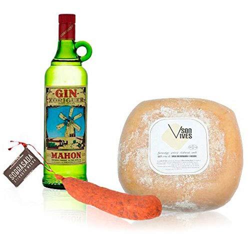 Pack Gin Xoriguer 70 cl. Queso Mahón Son Vives Semi Curado y Sobrasada de Menorca Etiqueta Negra El Paladar