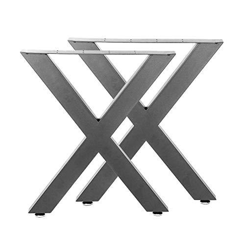 Bastidores para mesa 72x60 cm Recubrimiento polvo gris Caballetes Perfil-X Patas de mesa Bricolaje