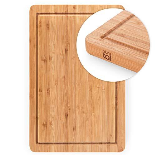 Blumtal Schneidebrett aus 100% Bambus - antiseptisches Holz-Brett mit Saftrille, Holz-Brettchen, 38x25x2cm