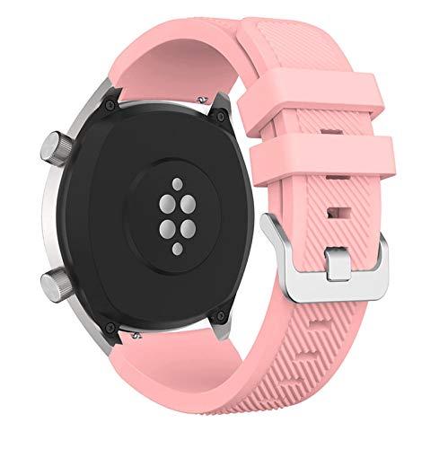 LGFCOK Correa de silicona de 22 mm para Huawei para Honor Magic Watch 2 correas de repuesto deportivas para Huami Amazfit Stratos 3 correa (color de la correa: rosa claro, ancho de la correa: 22 mm)