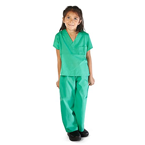 Super Soft Children Scrub Set Kids Doctor Dress up (8/10, Surgical Green)