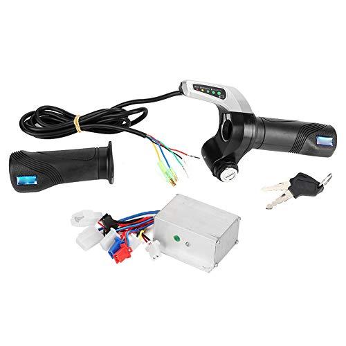 Gorgeri Controlador de velocidad de bicicleta eléctrica, kit de LED de controlador de velocidad cepillado 24V 250W con agarre de acelerador de bloqueo para scooter de bicicleta eléctrica