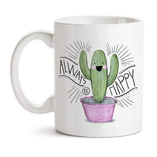 Cactus taza, Rosa lindo y verde suculento de acuarela con cita, ser siempre feliz, 11 oz de café de cerámica de la novedad de la taza de té /, taza del regalo