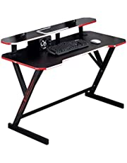 Yalla Office AR810-BLK-120 Gaming Table PC Computer Laptop Desk with Workstation Monitor Stand for Gamer Pro Z Shaped Gift for Student (120 x 60 x 90 cm, Black)