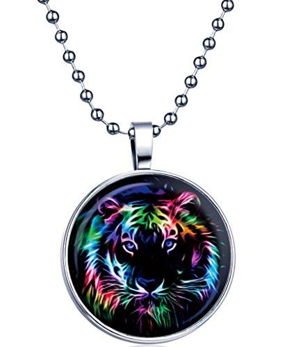 Yumilok Cadena para mujer y niña, colgante que brilla en la oscuridad, diseño de tigre, aleación de medallón, para hombre y mujer, luz azul
