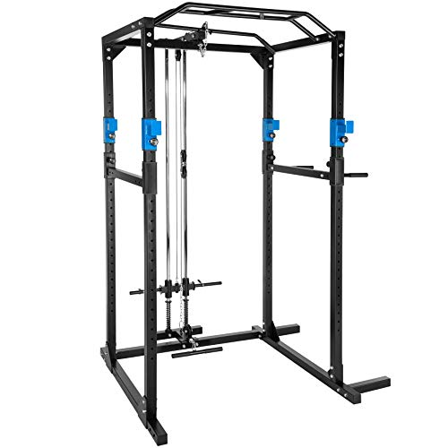 TecTake Kraftstation Fitnessstation Power Rack Power Cage | Klimmzug-Doppelstange | Robuster Rahmen aus Stahlrohr Modelle (Blau Schwarz mit Latzug | Nr. 402598)