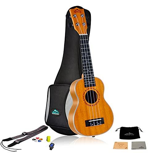 EASTROCK Ukulele soprano per principianti Kit per ukulele in legno sapele da 21 pollici con borsa addensata, accordatore, cinturino, corda di carbonio, set di panno per la pulizia